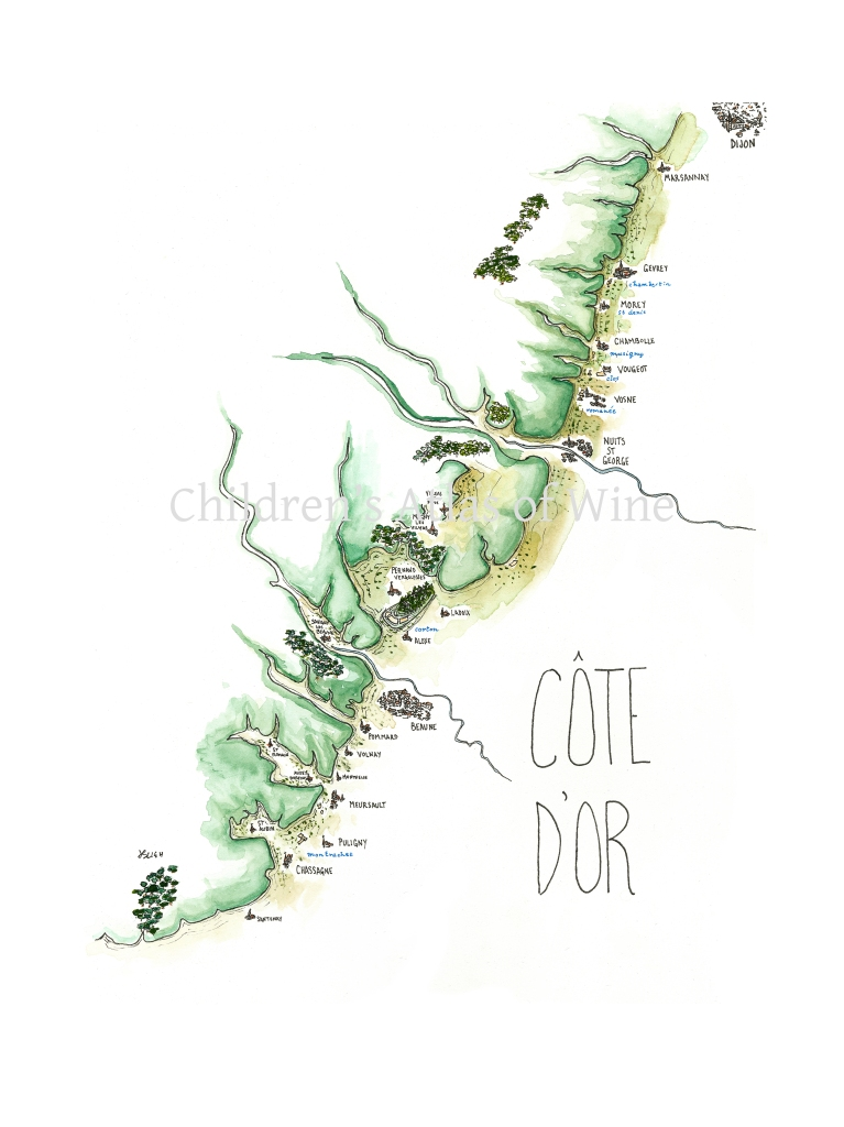 Watercolor wine map of the Cote d'Or in Burgundy, with villages and grand cru vineyards from Marsannay all the way down to Santenay.