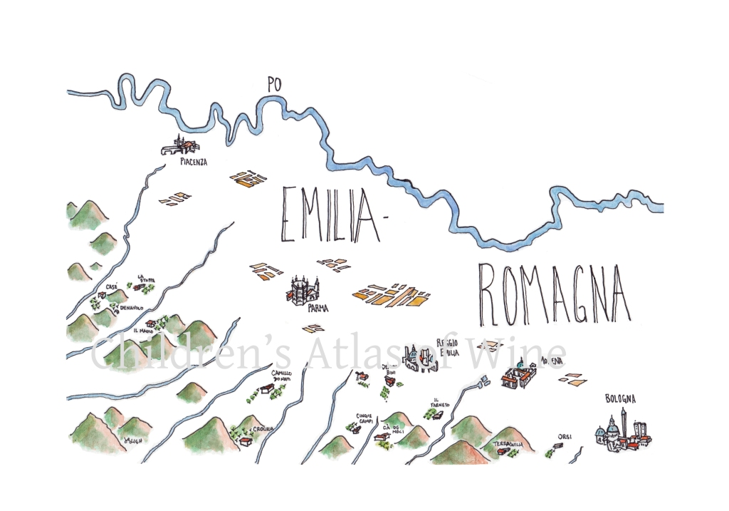 Watercolor wine map of Emilia-Romagna, in northern Italy.