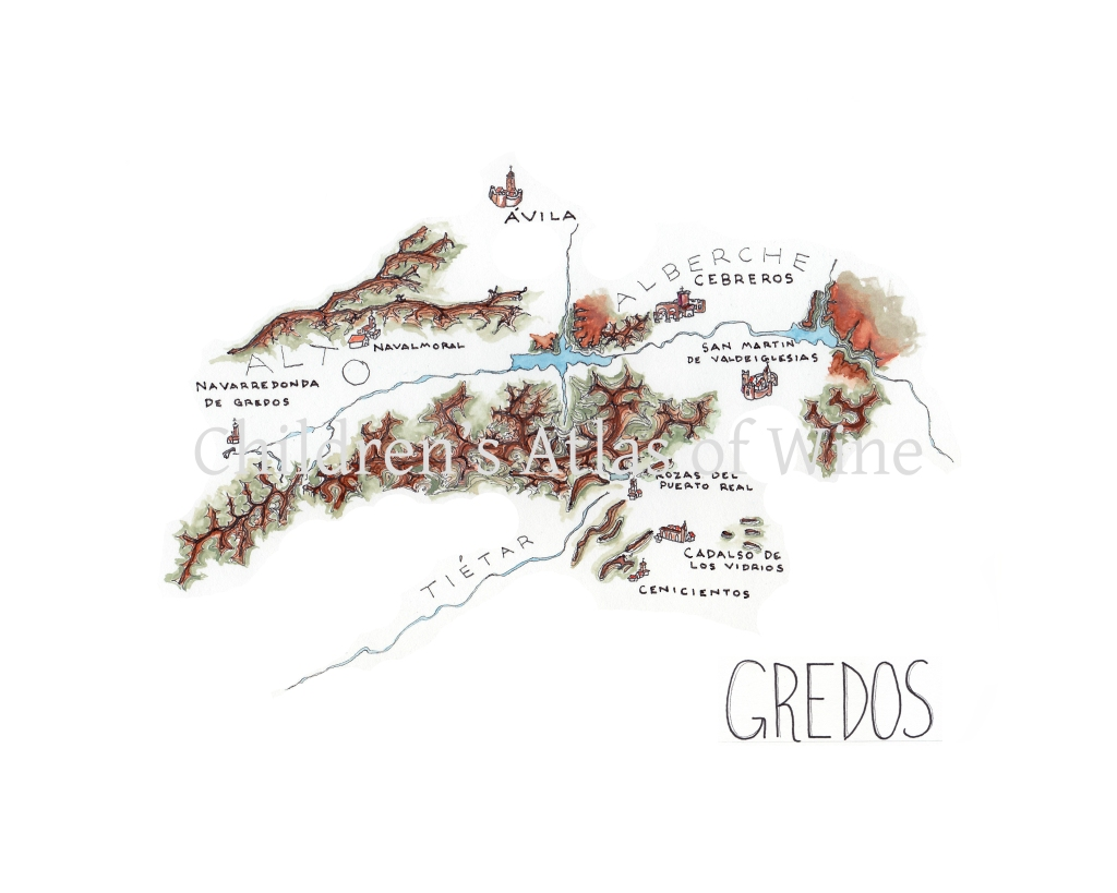Watercolor wine map of the Sierra de Gredos, west of Madrid, Spain.