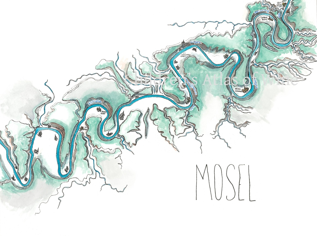 Watercolor wine map of the Mosel, in Germany.