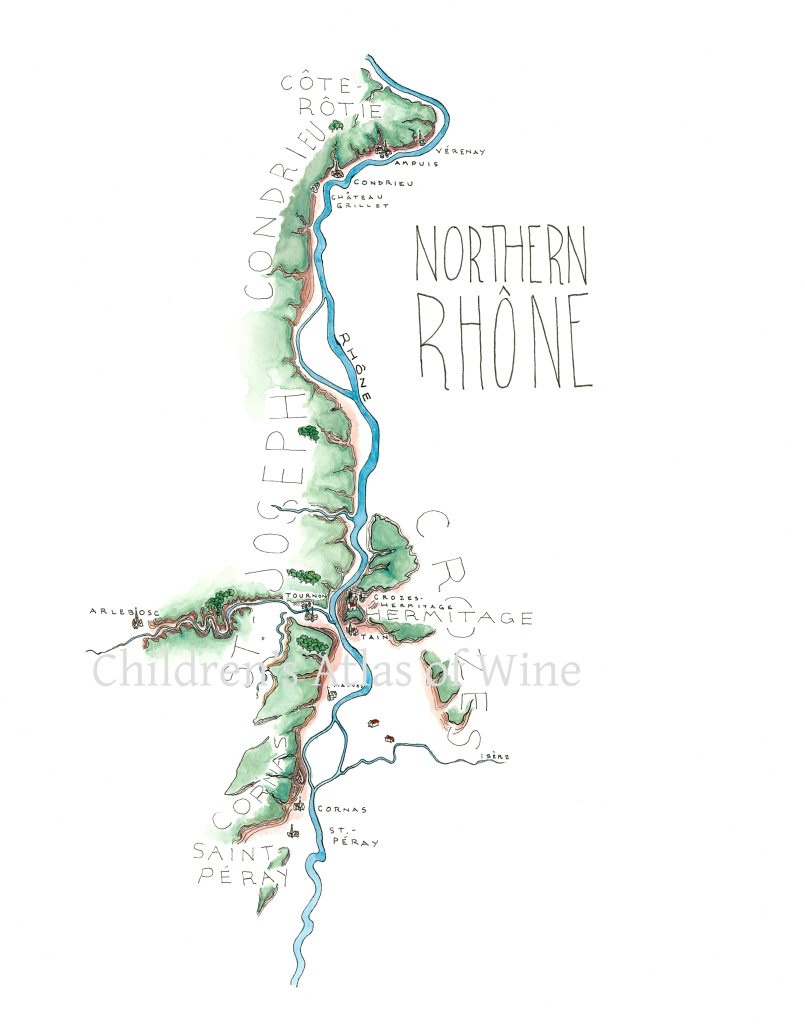Watercolor wine map of the Northern Rhone, including Cote-Rotie, Condrieu, Saint-Joseph, Hermitage & Crozes-Hermitage, and Saint-Peray.