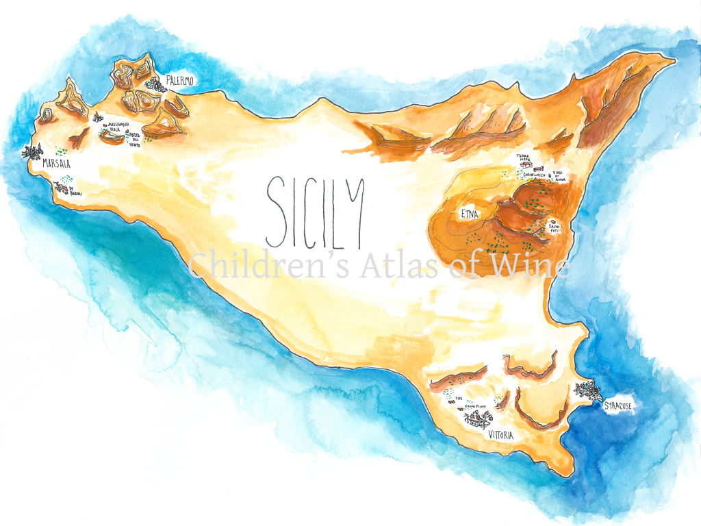 Watercolor map of the wine regions of Sicily.